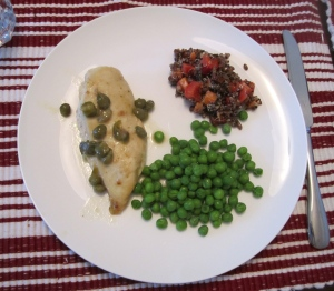 Quinoa and Barley Salad with Chicken Piccata and peas