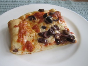 Pizza with Olives and Mozzarella