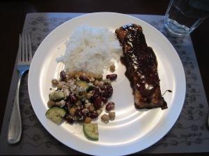 Feta, zucchini, bean salad with balsamic maple glaze